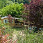 Een houten chalet tussen de bomen, te huur op de camping