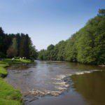 De rivier de Semois met op een afstandje een aantal tenten aan de oever.