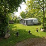 Een privé kampeerveldje omringd door bomen, met hierop een caravan met voortent.