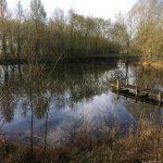Bij de camping ligt een meertje om te zwemmen, met houten steiger