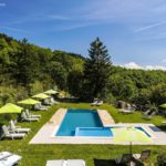 L-vormig zwembad omringd door gras en groen, met ligbedden.