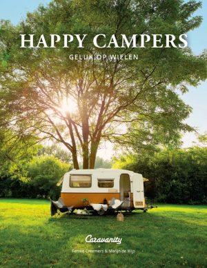 Cover van een boek met hierop een retro Eriba caravan bij een grote boom