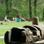 Een klimboom en zandbak op een kampeerveld bij Landgoed de Hoevens
