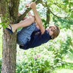 Een jongetje in blauwe kleding klimt in de boom