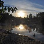 De zonsondergang bij het zwemven.