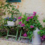 Groene houten bistro stoeltjes met bloemen erop