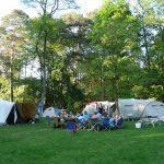 Meerdere families samen aan het kamperen