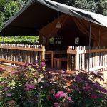 Een safaritent met grote veranda en paarse bloemen ervoor