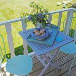 Tafeltje met blauwe stoeltjes en een ontbijt op een dienblad