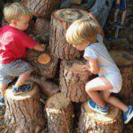 Twee peuters klimmen op een stapel boomstammen