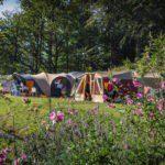 Een kampeerveld met diverse grote tenten omringd door bomen en bloemen.